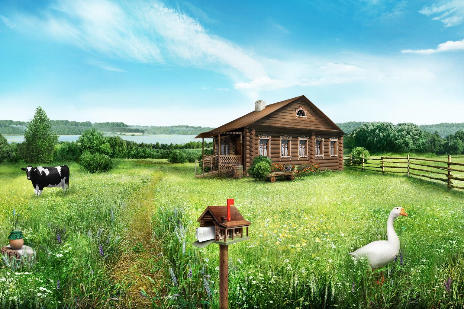 картинки домика в деревне на заднем плане что